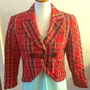 J' Envie red plaid blazer